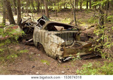 Car Dump in Kirkoe Mosse southern Sweden