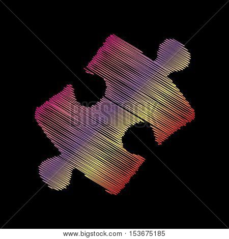 Puzzle Piece Sign. Coloful Chalk Effect On Black Backgound.