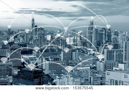 Wifi icon and Bangkok city with network connection concept Bangkok smart city and wireless communication network abstract image visual internet of things.