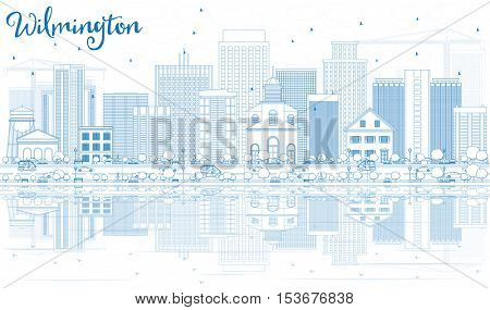 Outline Wilmington Skyline with Blue Buildings and Reflections. Vector Illustration. Business Travel and Tourism Concept with Modern Buildings. Image for Presentation Banner Placard and Web Site.