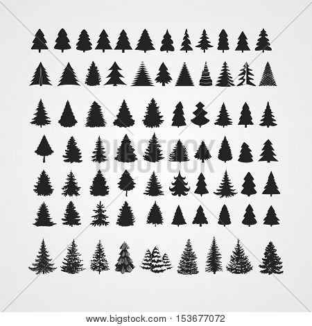 Christmas tree silhouette design vector set. Concept tree icon collection.Isolated on white background