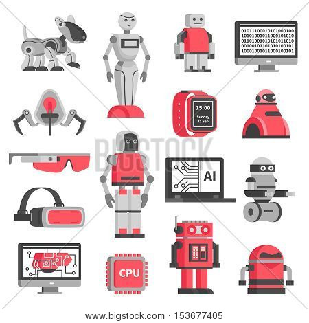 Artificial intelligence flat decorative icons set of robotic models and virtual reality headset isolated vector illustration
