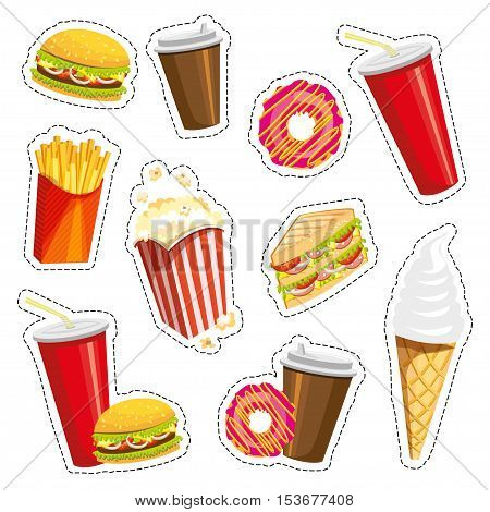 Set of colorful cartoon fast food icons on white background. Isolated vector illustration. Fashion patch, badges, stickers, pins, quirky. 80s-90s style. Trend. Vector illustration isolated. Eps 10.
