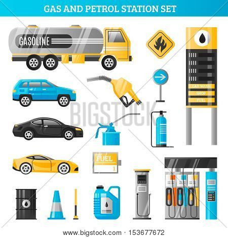 Gas and petrol station decorative icons set with gasoline tanker fuel pump racks for car refuelling flat vector illustration