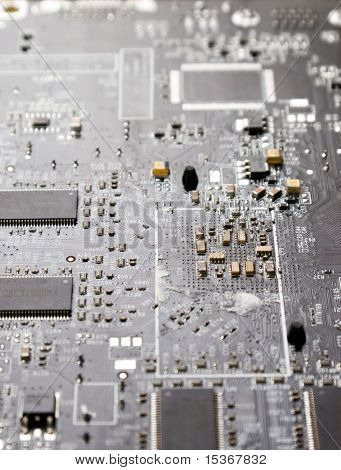 Computer chip closeup. Grey color.