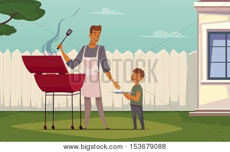 Summer weekend barbecue on patio lawn retro cartoon poster with bbq grill father and son vector illustration