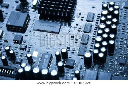 Big audio computer chip. Blue tint.