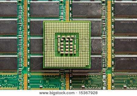 Cpu on computer chip background.