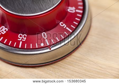Macro view of a red kitchen egg timer showing 0 minutes on wooden background