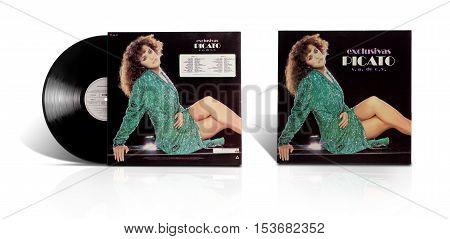 Rishon LeZion, Israel-August 3, 2016: Old vinyl stereo album Exclusivas Picato S.A. de C.V. The LP was produced in Mexico under Label Ariola 1984 Bertelsmann de Mexico S.A  and Bajo Autorizacion De A&M Records Inc.