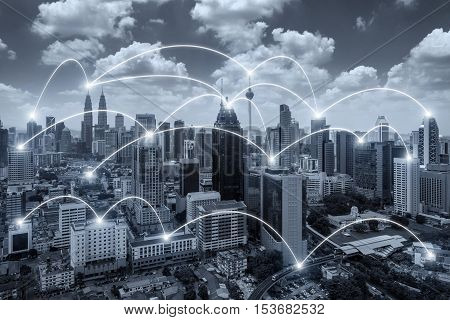 Network business conection system on Kuala Lumpur city in background. Network business conection concept.