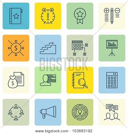 Set Of Project Management Icons On Announcement, Investment And Decision Making Topics. Editable Vec