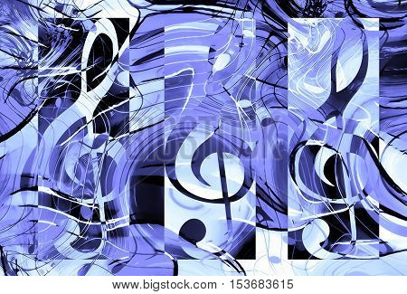 abstract set of music clefs and lines with notes, music theme graphic collage, blue color