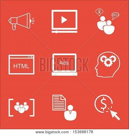 Set Of Seo Icons On Seo Brainstorm, Brain Process And Digital Media Topics. Editable Vector Illustra