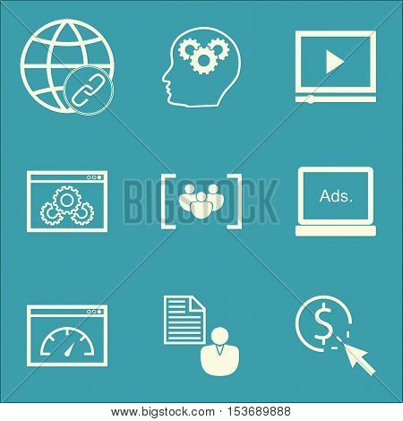 Set Of Advertising Icons On Video Player, Loading Speed And Questionnaire Topics. Editable Vector Il
