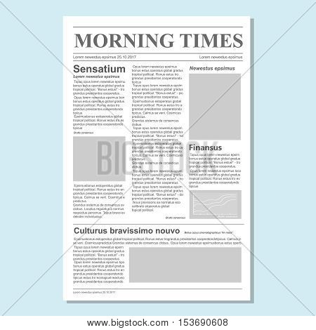 Graphical design newspaper journal template vector Paper tabloid on newsprint, daily publication information illustration