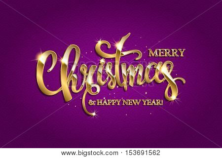 Vector Golden Text On Purple Background.