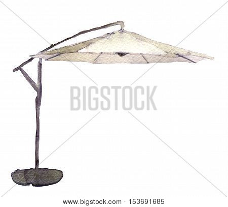 watercolor sketch of parasol on white background