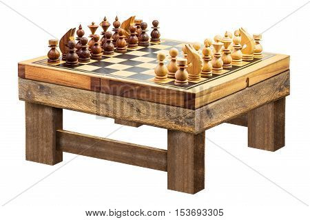 Wooden chess on table isolated on white background with clipping path