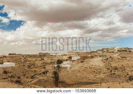 Town where the Berbers live in the Sahara desert, home of the troglodytes. Tunisia, Africa.