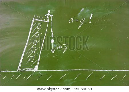 Physical experiment of Galilee. Object fall from Pisa tower on a ground. Sketch on school blackboard.