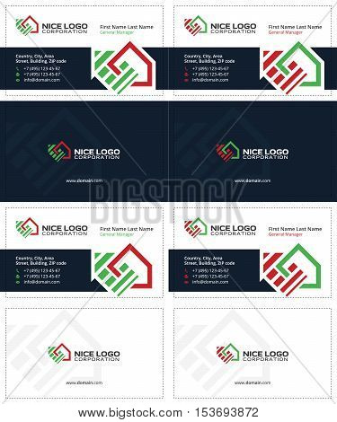 auction and real estate business cards, dark blue, green and red colors, home cards