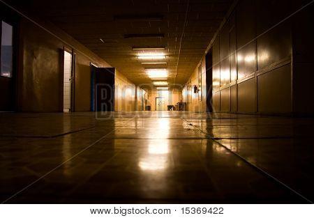 Dark corridor in scientific laboratory.