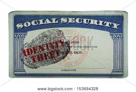 US social security card with fingerprint and Identity Theft stamp isolated on white