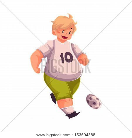 Fat boy playing football, cartoon vector illustration isolated on white background. Obese, fat, chubby kid playing football, doing sport, getting fit, active lifestyle