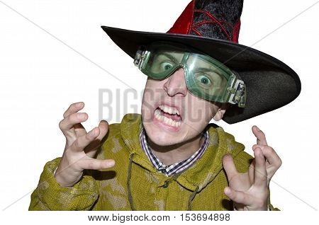 Screaming warlock in glasses isolated on white background