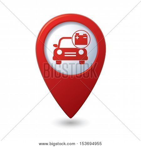 Car service. Car with accumulator icon on red map pointer