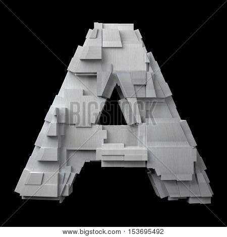 Futuristic brushed aluminum letter A against a black background (3d illustration)