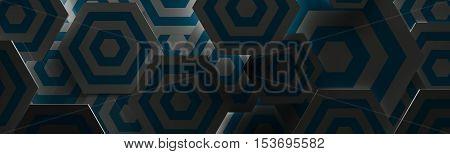 Stylish Dark Blue and White Hexangon Background (Website Head, 3D Illustration)