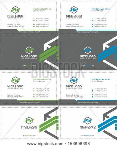 cargo colored box business cards, gray, green and blue colors