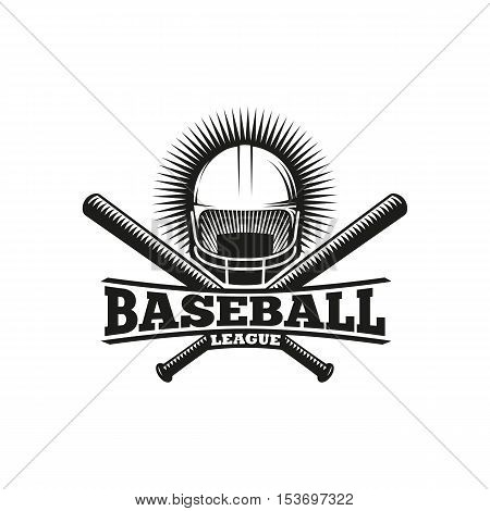 Isolated abstract black and white baseball helmet with bats logo. Professional sport equipment logotype. Safety element icon. American national game sign. Vector baseball equipment illustration