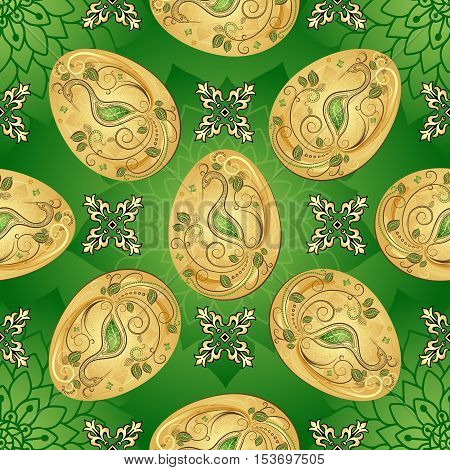 Easter seamless green pattern with golden eggs and vintage flowers vector eps10