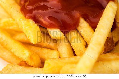 fried potatoes with ketchup restaurant, gourmet closeup