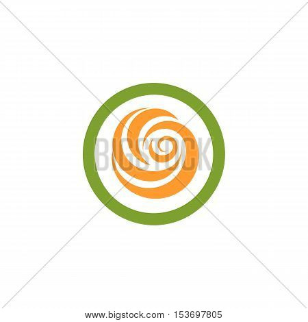 Isolated abstract green and orange color round shape logo. Flower in a circle logotype. Rose icon. Spining spiral sign. Sweet lolly pop symbol. Swirl, tornado emblem. Vector flower illustration.