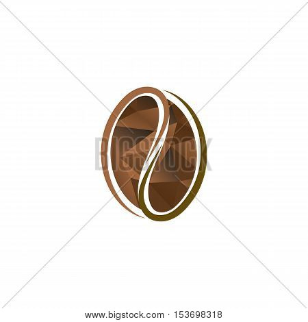 Isolated abstract brown color coffee bean logo. Energetic drink logotype. Natural seed icon. Vector cacao illustration
