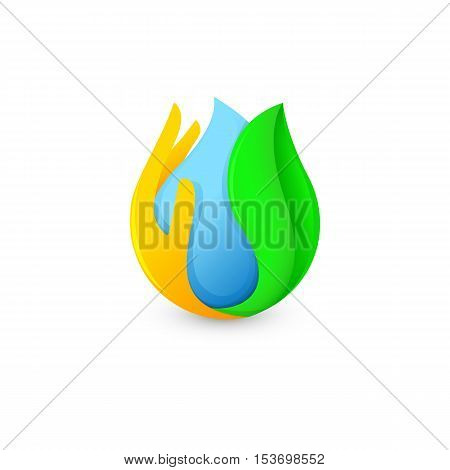 Isolated abstract blue water drop surrounded by palm and green leaf logo. Natural pure liquid logotype. Fresh drink icon. Dew sign. Vector water drop illustration