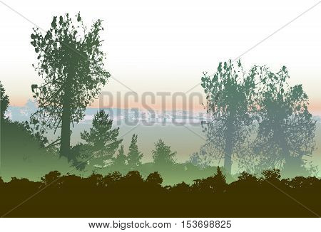 Panoramic forest landscape with silhouettes of trees and plants and smoking chimneys in the background. Landscape with silhouettes of trees and plants and power station in the background