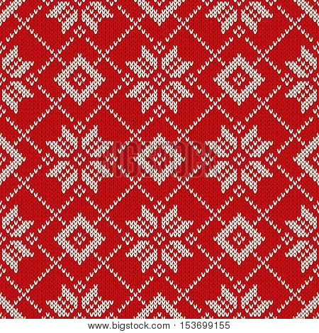 aa93c070edd324 Winter Holiday Knitted Pattern with Snowflakes. Seamless Vector Knitting  Background