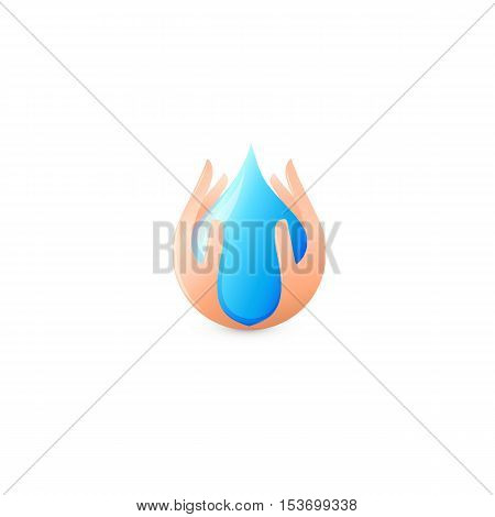 Isolated abstract blue water drop surrounded by human hands logo. Natural pure liquid logotype. Fresh drink icon. Dew sign. Vector water drop illustration