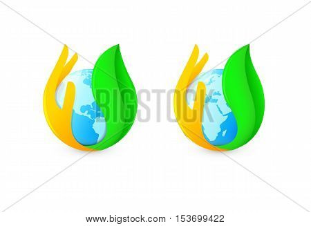 Isolated abstract blue earth hemispheres surrounded by palm and green leaf logo. Natural pure liquid logotype. Globe symbol. Fresh drink icon. Dew sign. Vector water drop illustration
