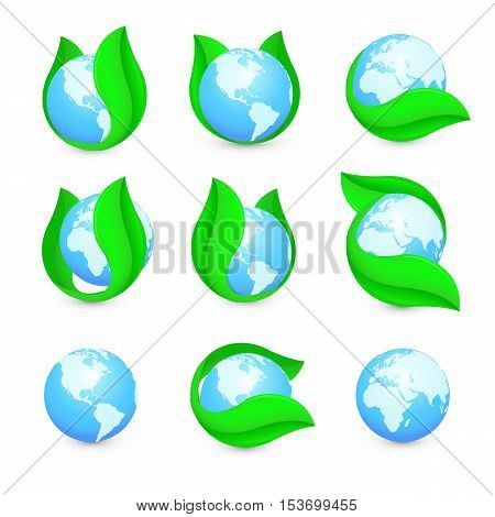 Isolated abstract blue earth hemispheres in green leaf logo set. Natural pure liquid logotype collection. Planet globe symbol. Fresh drink icon. Dew sign. Vector water drop illustration