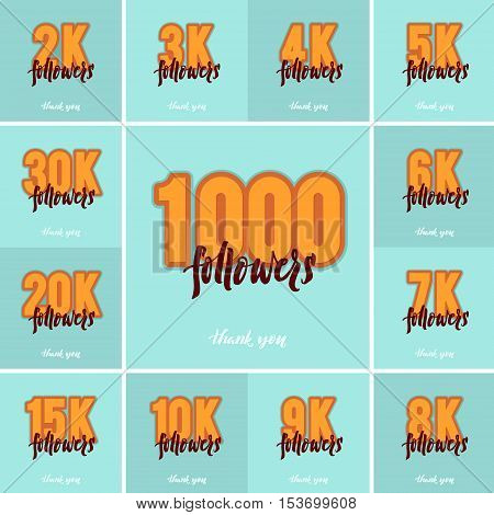 Vector thanks design template SET for network friends and followers. Thank you followers card. Image for Social Networks. Web user celebrates a large number of subscribers or followers