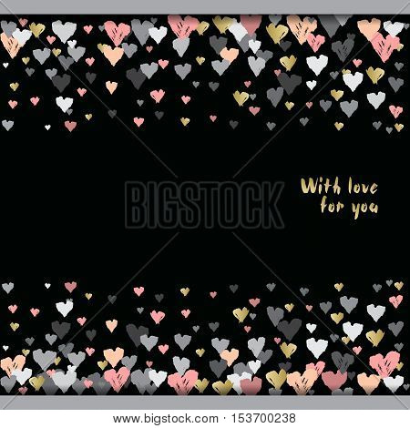 Dark horizontal design with hearts confetti on black background. Romantic trendy heart frame. Valentine day design for love card, valentine day greetings. Vector illustration stock vector.