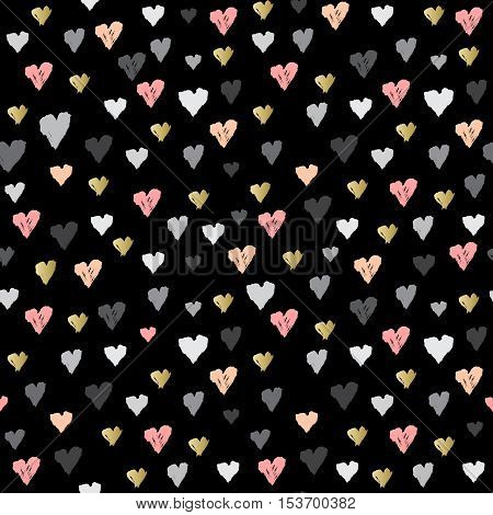 Dark seamless pattern with hearts confetti on black background. Romantic trendy heart frame. Valentine day design for love card, valentine day greetings. Vector illustration stock vector.