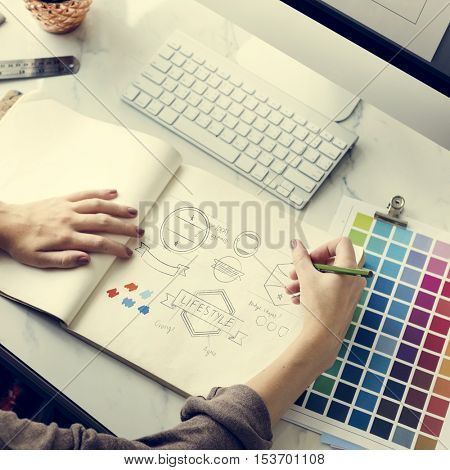 Color Shade Swatch Stationary Designer Creative Concept