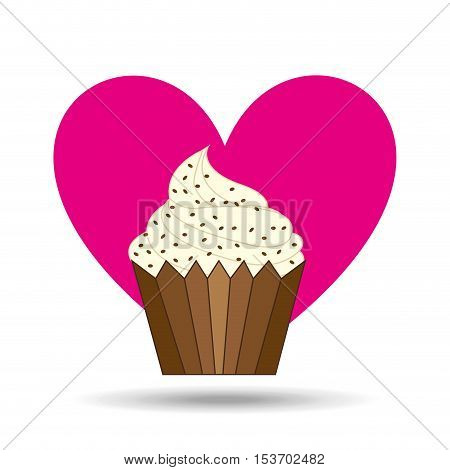 heart cartoon sweet cup cake chip candy icon design vector illustration